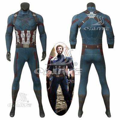 Avengers 3 Captain America Steve Rogers Cosplay Costume Elastic Jumpsuit - Captain America Costume Cosplay