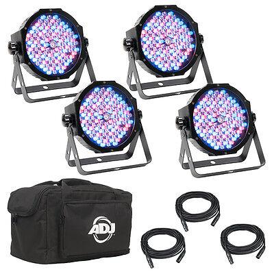 American DJ Mega Flat Pak Plus 4x LED Lighting Pars + DMX Cables + Soft -