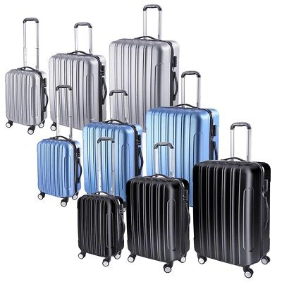 3 Piece Luggage Travel Set Bag ABS Trolley Rolling Wheels Su