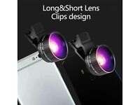 Phone Camera Lens Kit, 0.45x Wide Angle Lens, Super Wide Angle Macro Lens, Clips-On Cell
