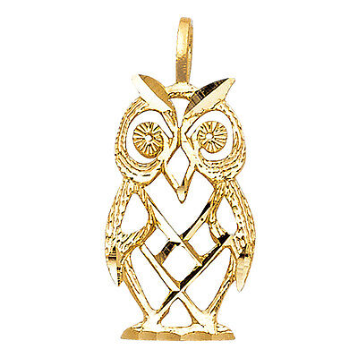 14K Solid Yellow Gold Owl Pendant Bird Diamond Cut Charm  14k Gold Owl Charm