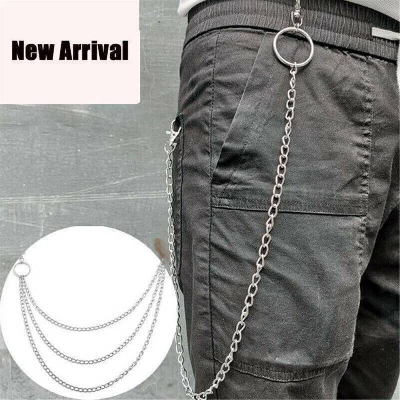 3 Layer Pants Chain Gothic Punk Trousers Chain Jean Wallet C
