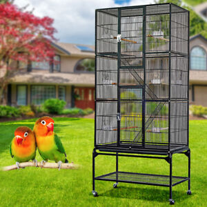 LARGE BIRD PARROT MACAW AVIARY FLIGHT CAGE WIRE BREEDING AFRICAN W/STAND&WHEEL