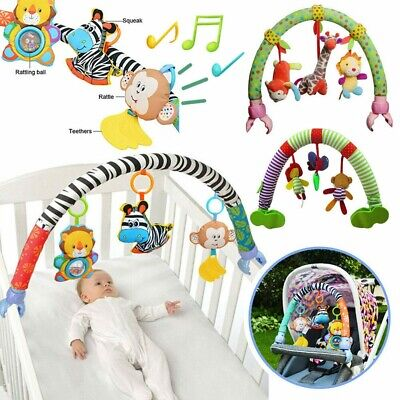 Baby Travel Play Arch Stroller Crib Pram Activity Bar with Rattle Squeak Toys UK