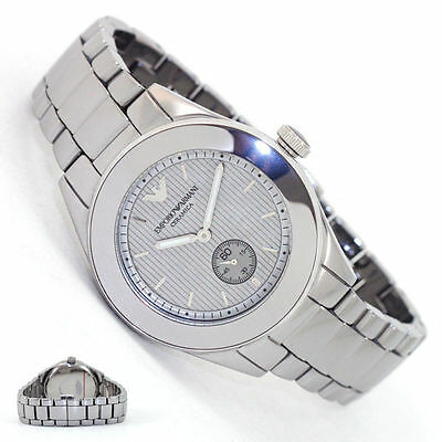BRAND NEW EMPORIO ARMANI SILVER DIAL CERAMICA LADIES WATCH AR1463