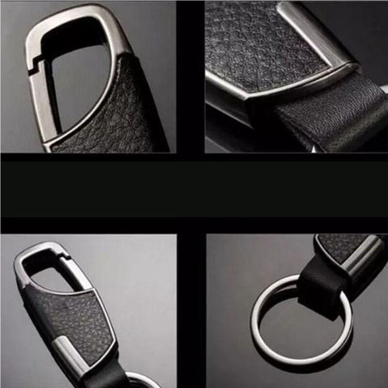 Genuine Leather Men's Car Keychain Key Ring Bag Pendant Metal Alloy Buckle