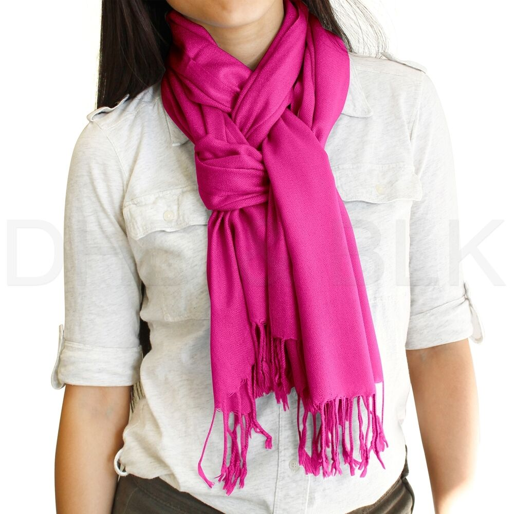 NEW Women Soft PASHMINA SILK Classic Solid Cashmere Wool