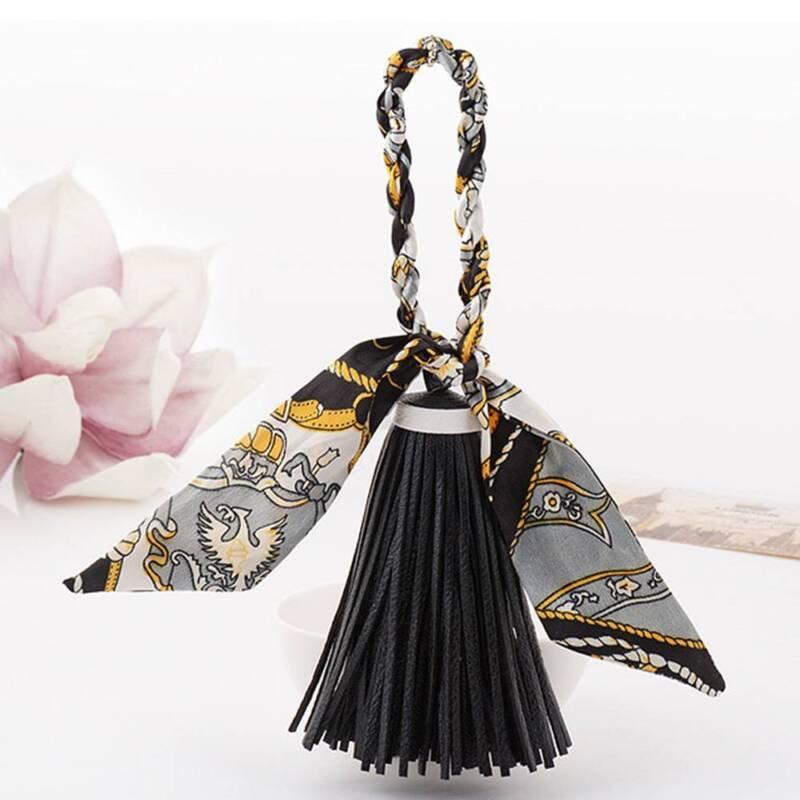 6 Colors PU leather Tassel Key Chain Key Ring For Women Bag