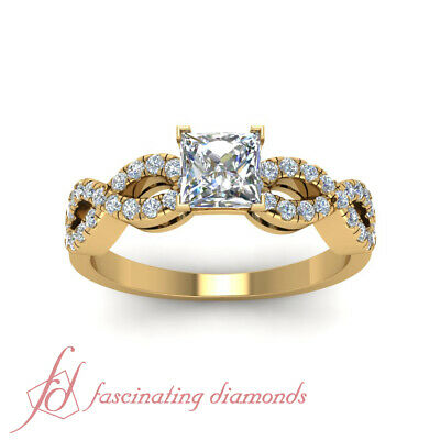 1 Carat Princess Cut Diamond Womens Gold Engagement Ring With Round Accents GIA 1