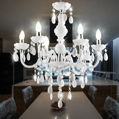 Mesa de Comedor Techo Colgante Lámpara Salón 6-flammiger Araña de Cristal Blanco