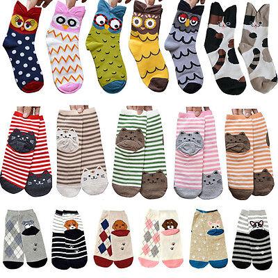Unisex Women 3D Fashion Printed Animal Casual Socks Cute Cat Low Ankle Socks NEW