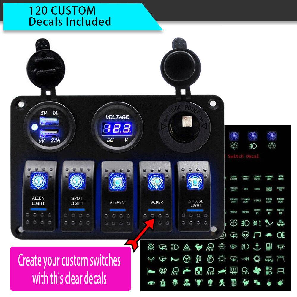 5 Gang Dual USB 12V On-Off LED Switch Panel Voltmeter Car Boat Marine 120 Decals
