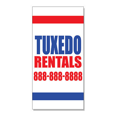 Tuxedo Rentals Custom Your Number  DECAL STICKER Retail Store Sign - Custome Rentals