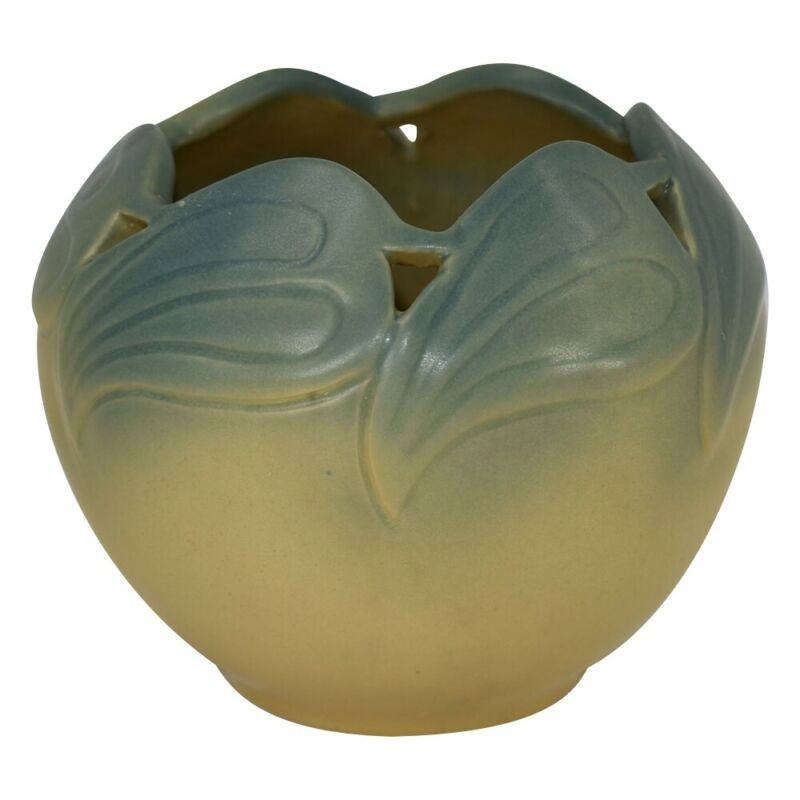 Van Briggle Pottery 2002 Aspen Sunrise Yellow Blue Philodendron Leaf Vase