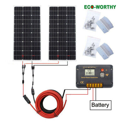 200W Complete kit 2*100W 12V SOLAR PANEL & 20A Controller for Car...