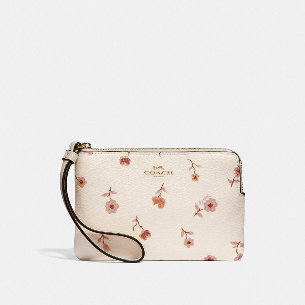 New Coach F58032 F58035 Corner Zip Wristlet With Gift Box New With Tags Chalk Prairie