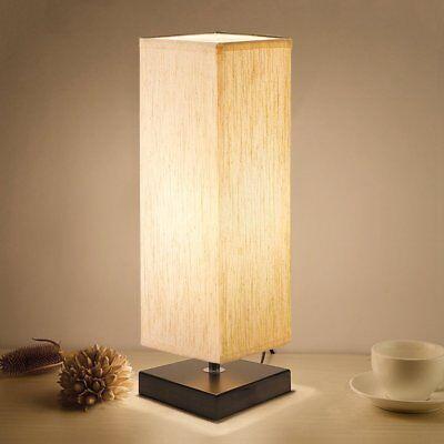 Bedside Table Lamp, Aooshine Minimalist Solid Wood Table Lam