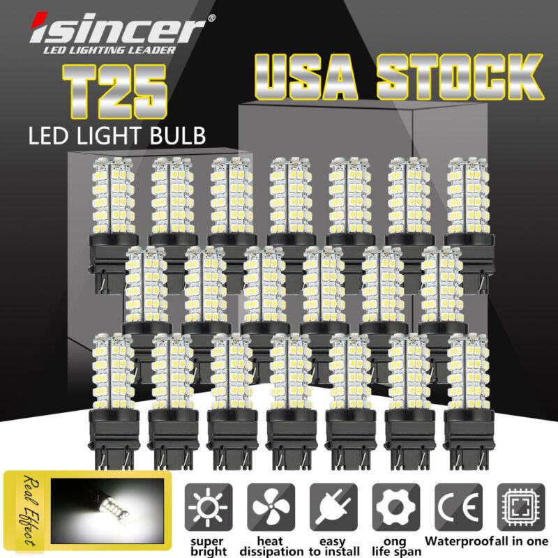 10PCS 6000K 3157 68 SMD LED TAIL/BRAKE/STOP LIGHT BULBS T25 3057 3457 WHITE USA
