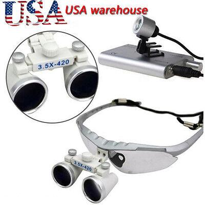 Usa3.5x 420mm Dental Surgical Medical Binocular Loupes Led Head Light Lamp