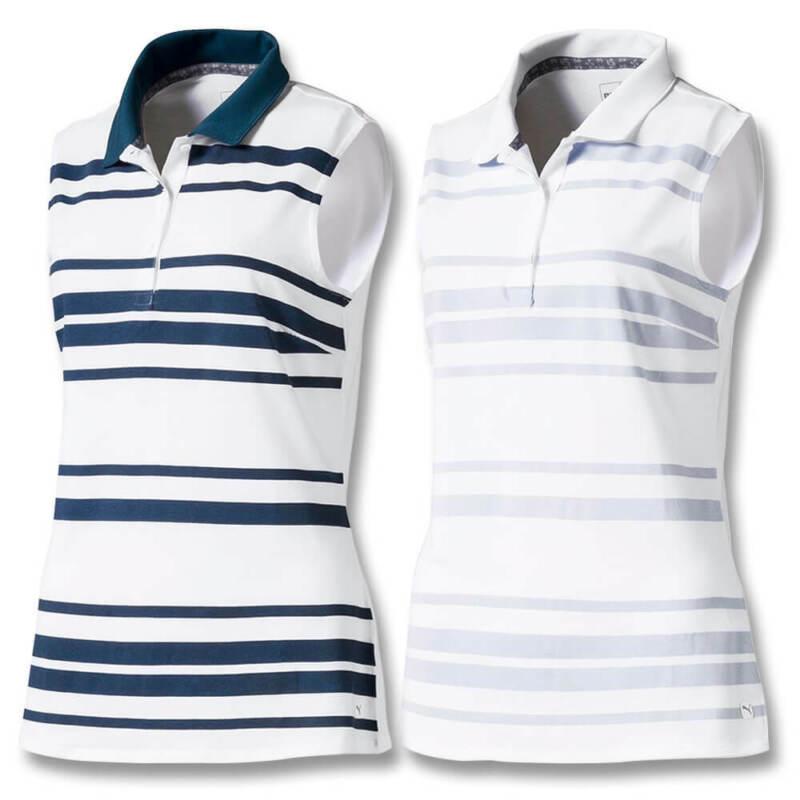 2019 PUMA Women Sleeveless Stripe Golf Polo NEW