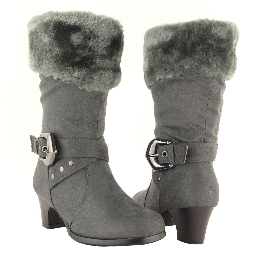 Girls Mid Calf High Heel Kids Boots Faux Fur Collar Suede