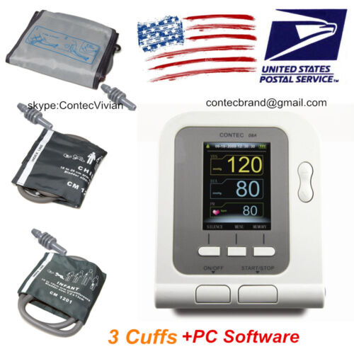 CONTEC08A Digital Arm Blood Pressure Monitor 3 cuffs Adult/Child/Pediatric+PC SW