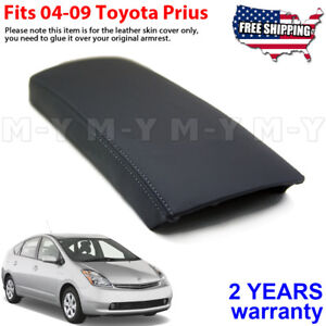 Fits 2004-2009 Toyota Prius Leather Center Console Lid Armrest Cover Black