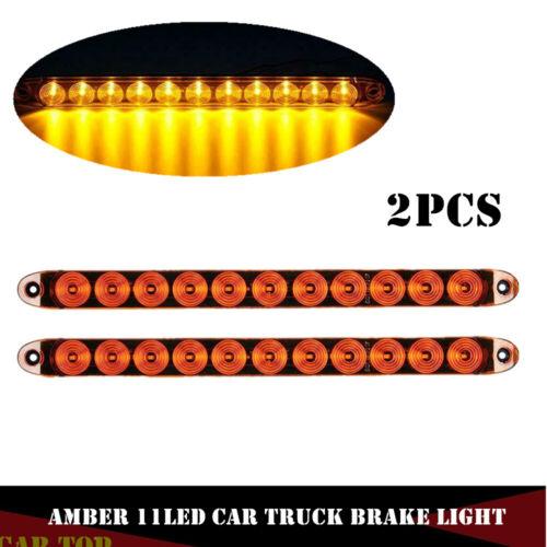 "2x Amber 15"" Waterproof 11LED Light Bar Stop Turn Tail brake Light Truck Trailer"