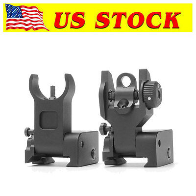 Flip up Front Rear Iron Sight Set Rapid Transition for Mil Spec Low Profile US