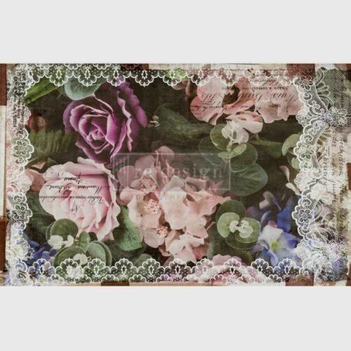 """Re-Design Decoupage Decor Tissue Paper Dark Lace Floral 19""""X30"""" (48.3cmX76.2cm)"""