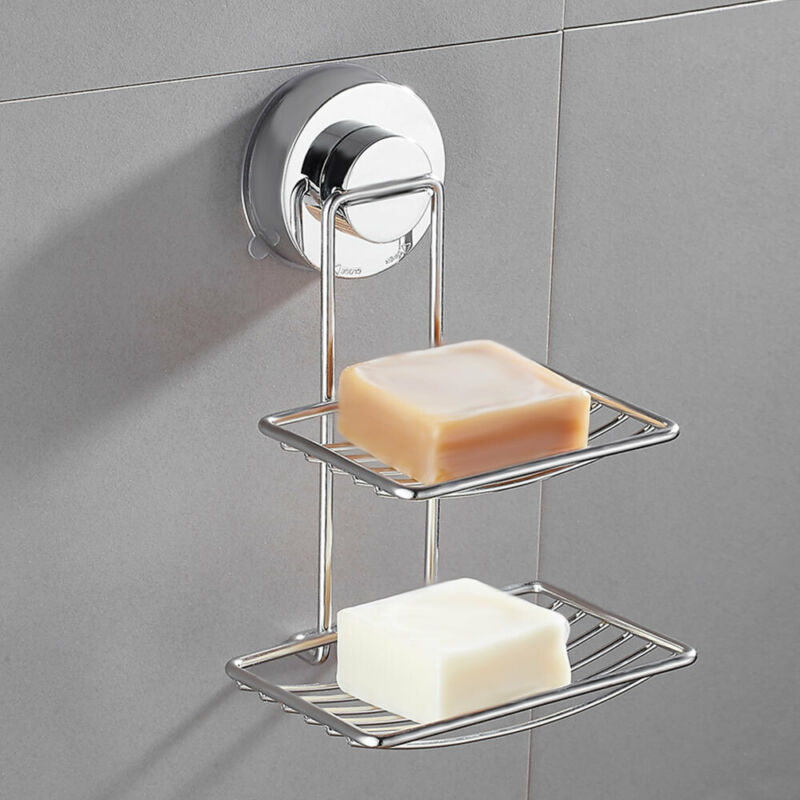 Strong Suction Chrome Soap Dish Holder Bathroom Shower Acces