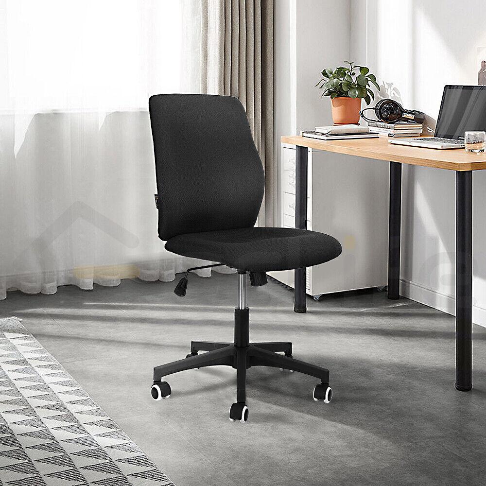 Ergonomic Office Chair Linen Adjustable Swivel Computer Seat Armless Home Black