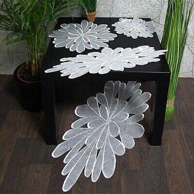 Tischdecke Tischläufer Deckchen Blüte weiß rund oval leicht organza Größenwahl