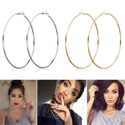 1Pair Sexy Women Stainless Steel Smooth Big Large Hoop Earrings Jewelry 10-70mm