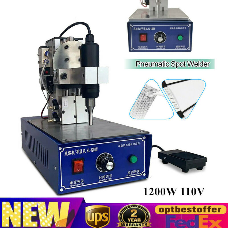 110V Pneumatic Ultrasonic Welder 28KHz Ultrasonic Spot Welding Machine 1200W NEW
