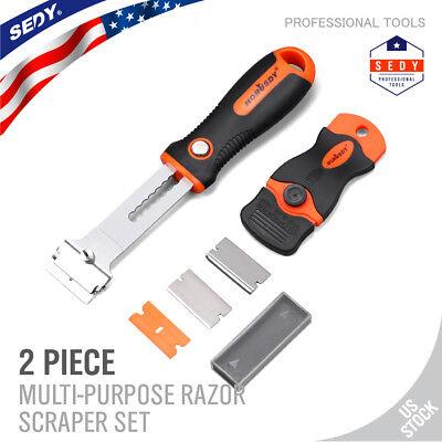 2-Piece Multi-Purpose Razor Scraper Set 5pcs Extra Blades Protective Cover