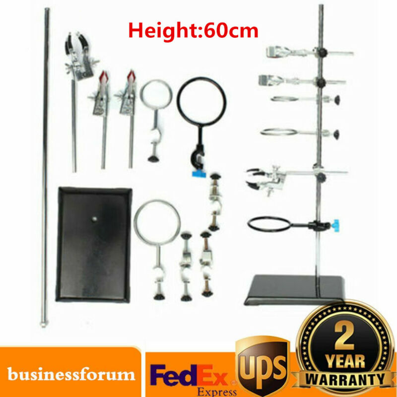 Laboratory Stand Chemistry Lab Clamp Flask Support Sets+Clips 135*210*600mm USA