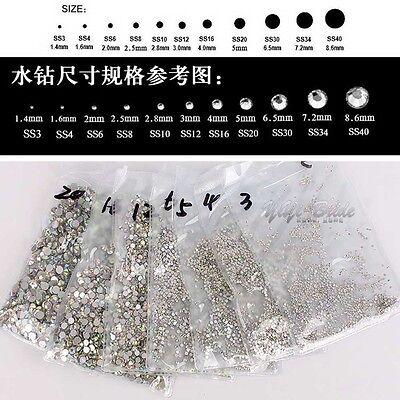 1440pcs Clear/AB Crystal DIY Flatback Glass Rhinestones for Nail Art Phone Case