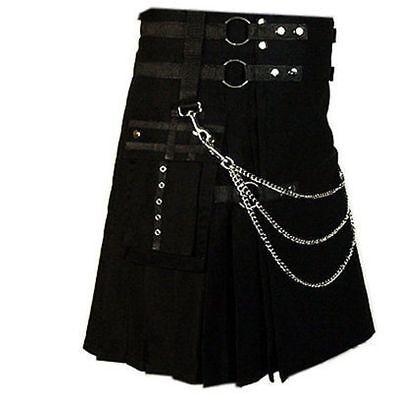 Lot of 6 Deluxe Black UTILITY FASHION KILT Cargo Pockets 100% Cotton All Sizes