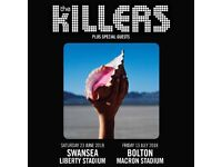 2 x The Killers in Swansea 23rd June - pitch standing tickets