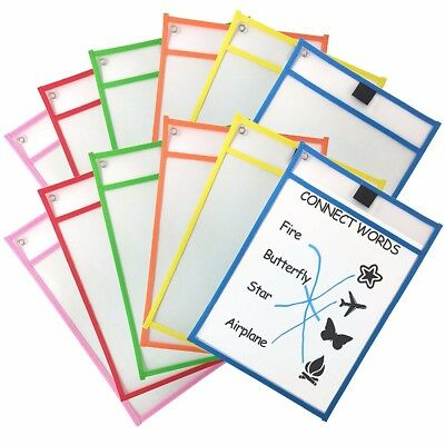 6 Pack New Reusable Dry Erase Pockets 10 X 13 Inches Assorted Color Oversized