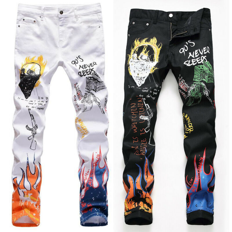 Mens Stretch Elastic Printed Straight Jeans Denim Slim Fit Trousers Long Pants Clothing, Shoes & Accessories