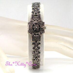 Vintage Silver Nouveau Baroque Regency Floral Scrolls Marcasite Bracelet Watch