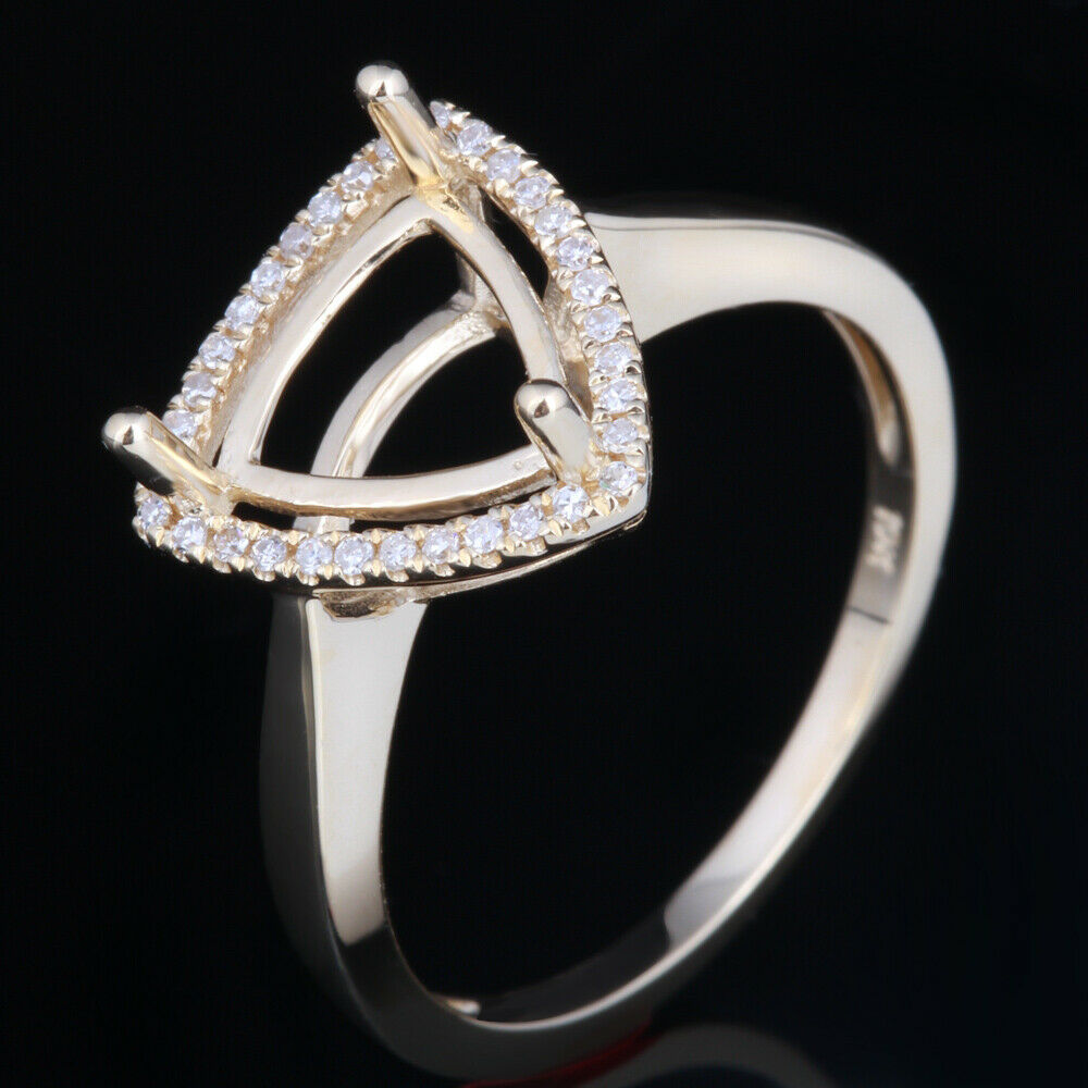 TRILLION CUT 8x8MM STERLING SILVER 925 PAVE SEMI-MOUNT DIAMOND ENGAGEMENT RING