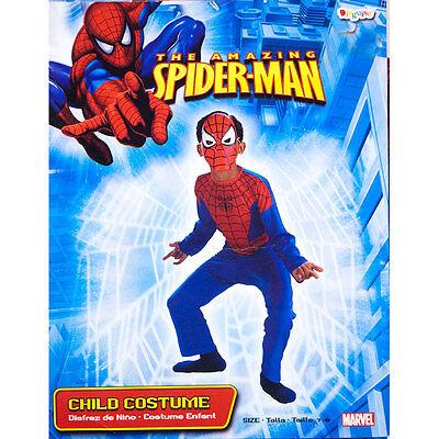 MARVEL HERO SPIDER-MAN BOYS CHILD JUMPSUIT MASK COSTUME 7-8 NEW