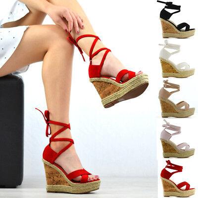 Womens Platform Wedge Heel Espadrilles Sandals Lace Tie Up Ladies Summer Shoes Lace Up Platform Sandal