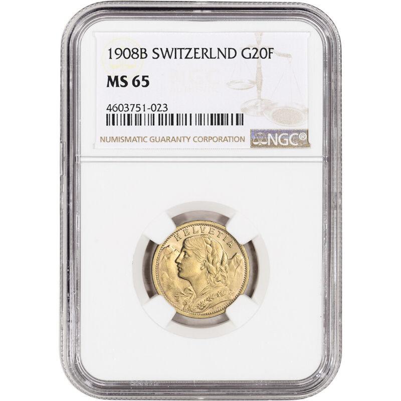 1908 B Switzerland Gold 20 Francs - NGC MS65