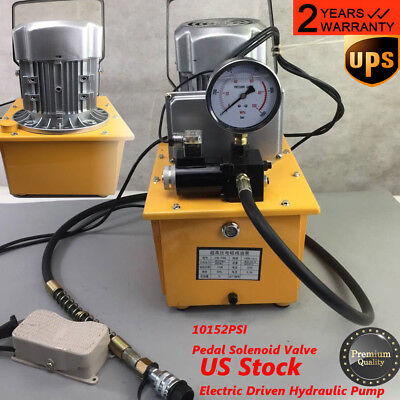 2 Stage Solenoid Valve Electric Hydraulic Pump Power Pack 110v Psi Hydraulic Usa