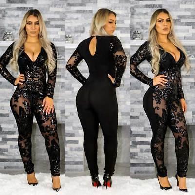 Women Sequins Black See Through V Neck Dance Wear Jumpsuit Club Playsuit Catsuit (Sequin Catsuit)