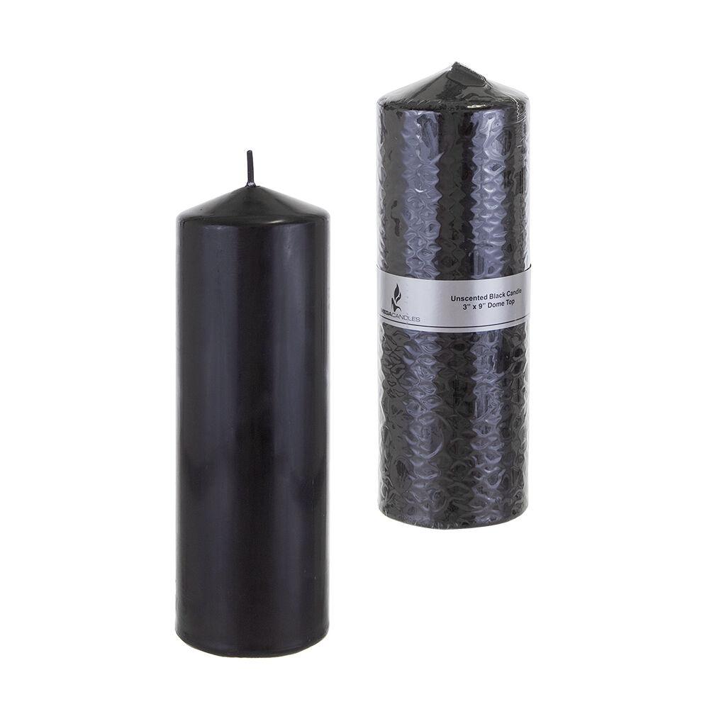 "Mega Candles - Unscented 3"" x 9"" Round Pillar Candle - Black"